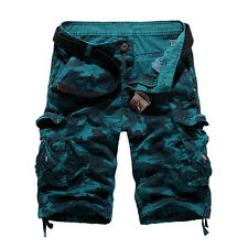 Men Summer Casual Cargo Pants Shorts Trousers Pocket Military Camo Combat Army