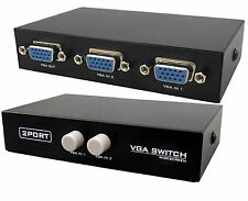 2 Port VGA Switch - Splitter (Manual) Connect 2 Monitors to 1CPU/2 CPU to1Screen