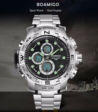 UK Mens  Dual Display shock Digital LED Sports Divers Watch In Silver Black