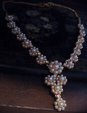 Butler & Wilson Vintage Pearl & Crystal Drop Necklace