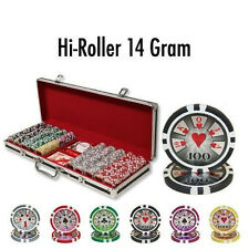 NEW 500 PC High Roller 14 Gram Clay Poker Chips Set With Black Red Aluminum Case