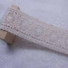 "Vintage ST Broderie Anglaise Cotton Lace Trim 4cm (1.6"") Ivory 1yard"