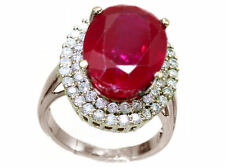 10.20ctw Diamond and Ruby Set in 18K White Gold Ring