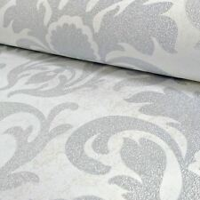 P&S quilates Damasco Brillo Wallpaper-plata Y Blanco - 13343-20 Pared Decoración Nuevo