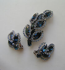WEISS Signed Marquise Cut Blue Saphire Blue Crystal Rhinestone Brooch Set