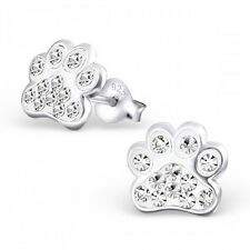 Sterling Silver 925 Dog / Cat Paw Crystal Stud Earrings - Clear