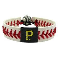 MLB Pittsburgh Pirates Logo Bracelet Wristband Classic Red Seams Leather Laces