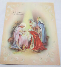 Vintage Christmas Greeting Card 1942 Glory To God Blessing Religious Manger