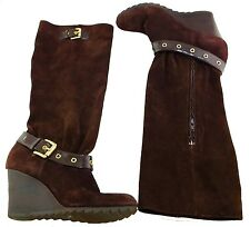 Women Michael Kors MK Brown Suede Leather Wedge Boots Size: 8.5 8 1/2