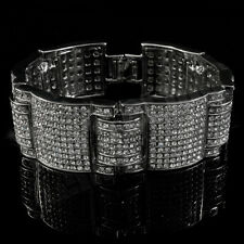 14k White Gold Iced Out Simulated Diamond MicroPave HipHop Adjustable Bracelet 3