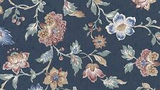 Frosted Silks Blue Rose Tan Green Gold Floral Flower Double Roll Vinyl Wallpaper