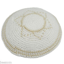 White knitted kippah with the Star of David