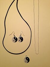 Yin Yang Black White Chinese Wholeness Charm Necklace & Earrings set Silver Blk