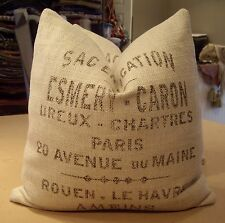 "ONE RARE RESTORATION HARDWARE ""ESMERY- CARON"" FRENCH GRAIN SACK CUSTOM PILLOW"