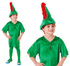 Childrens Peter Pan Fancy Dress Costume Book Week Day Outfit Kids Childs L