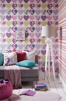 Patchwork Hearts Retro Girls kids Bedroom Concept - Wallpaper Art Cushion Clock