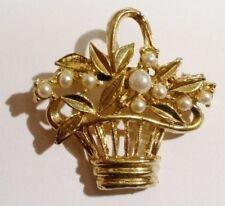 broche rétro panier en relief ajouré perle blanche couleur or poli * 2884