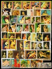 Nude Paintings on Stamps-50 Different Large World Wide Thematic used Stamps