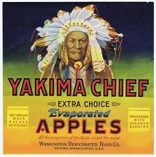 Yakima Chief, original apple crate label, indian cheif, feather headdress