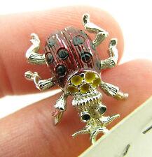 Vintage Sterling Silver Enamel Ladybug Lady Bug Beetle Bracelet Charm