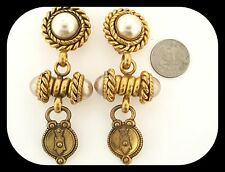 RARE 70's Vintage Signed Butler & Wilson Gold Plated Pearl Clip On EARRINGS 92GR