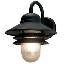 Black Outdoor Wall-Mount Lamp Weatherproof Exterior Beach Coastal Light Fixture