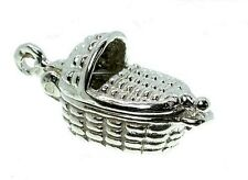 STERLING SILVER OPENING MOSES BABY BASKET CHARM