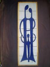 "Greek Signed Modern Art Tile Wall Ceramic Pottery 29"" Erotic Father Mother Child"