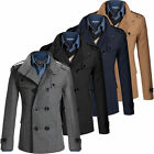 Mens Double Breasted WOOL Trench Coat Pea Coat Long Parka Winter Overcoat Jacket