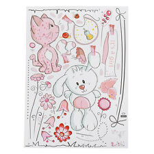 H1 Cartoon Cat Rabbit Flower Wall Sticker For Baby Girls Kids Rooms
