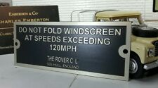 Land Rover Series 1 2 2a 3 Comedy Warning Screen Folding Bulkhead Plaque Plate
