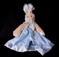 BEARINGTON Baby Collection Blue Bunny Lovey Blanket Security Blue Satin