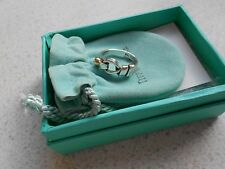 Exquisite Tiffany & Co Sterling Silver & 18k Gold Love Knot Hook Ring Size 6.5.