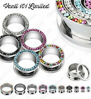 Surgical Steel MULTI CRYSTAL RIMMED Screw Fit Ear Stretcher Flesh Tunnel / Plug