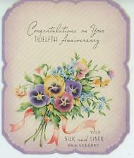 VINTAGE GARDEN FLOWERS PANSIES 12TH SILK AND LINEN ANNIVERSARY GREETING ART CARD