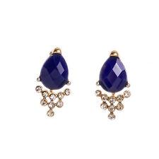 Boucles d`Oreilles Clous Doré Ear Jacket Bleu Marine Goutte BB 10