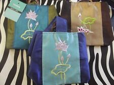 Lot of 3 Gift Bag / Make-up Bag ~ Floral Embroidery ~ Blue Green Brown Cloth NWT