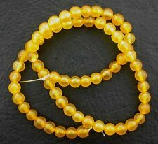 6mm Round Golden Yellow Citrine Color Agate Bead Strand Gem Gemstone 15 Inch