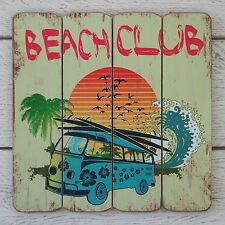 Retro Vintage Placca In Legno Mare Beach Club Blu Camper Van & Tavola da Surf sign