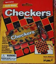 CHECKERS Game Keychain Keyring Magnetic Miniature Board Retired NEW Basic Fun
