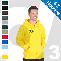 4 X Personalised Embroidered / Printed Zip Hoodies Customised Workwear Text/Logo