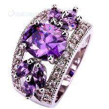 Size 9 Saucy Amethyst Hollow Purple Crystal Statement Silver Ring Charm
