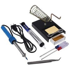 New 9in1 110V 60W Electric Solder Tool Kit Set With Iron Stand Desoldering Pump