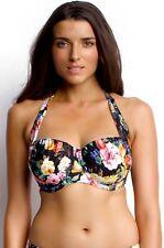 NEW SEAFOLLY 'Summer Garden' Balconette Bra Bikini Top US SZ 6 F Cup Black $128