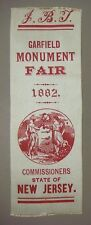 Ribbon - J.B.T. Garfield Monument Fair 1882, Commissioners State of New Jersey