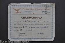 Certificato Fabbrica Armi Lario Camerlata Como Prova Fucile 25000 cal. 12  1920