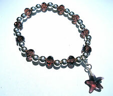 'AAA' GRADE PURPLE CRYSTAL GLASS BEADED STRETCH STARFISH CLIP CHARM BRACELET