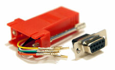 Red Female DB9 9 Pin to RJ11 RJ12 6 conductor Crimp Modular Adapter Connector