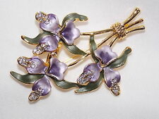 Lovely 3D Purple Enamel Orchids & Clear Crystal Pin Brooch - Comes In Gift Box