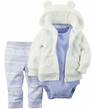NEW Carter's Baby Girl's 3pc Hooded Micro Outfit Set White/Lavender Size 18month